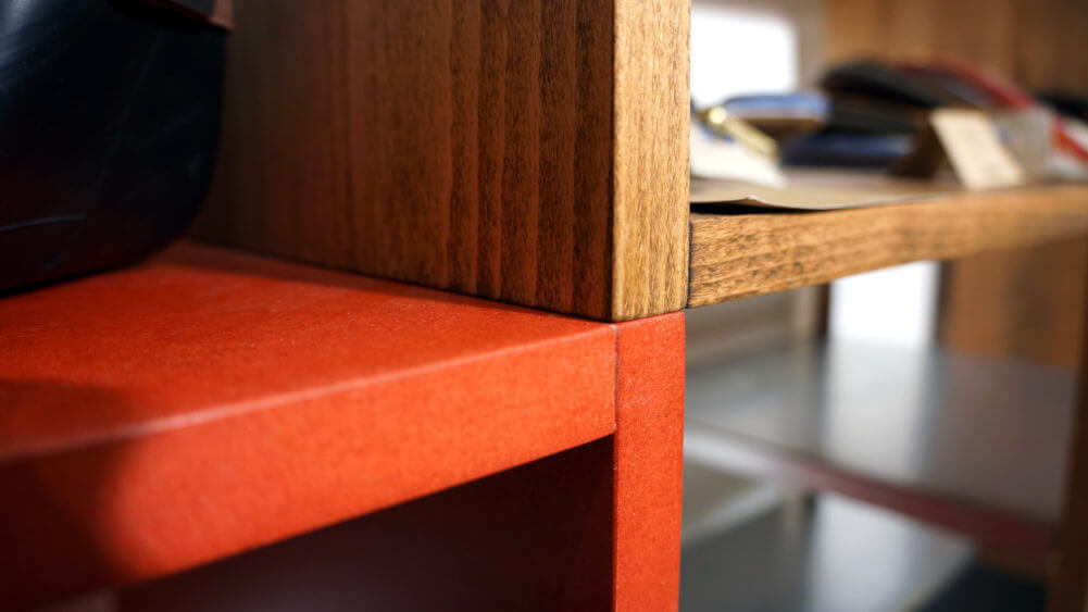 Massivholz Buche dunkel geölt mit durchgefärbter MDF Box